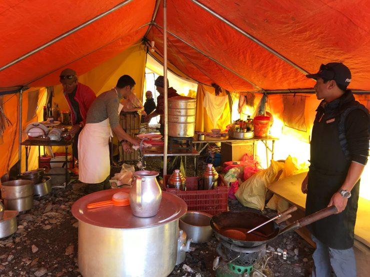Everest Update 15 Camp 1 - Everest Base Camp kitchen - Epic Everest Expedition 2018