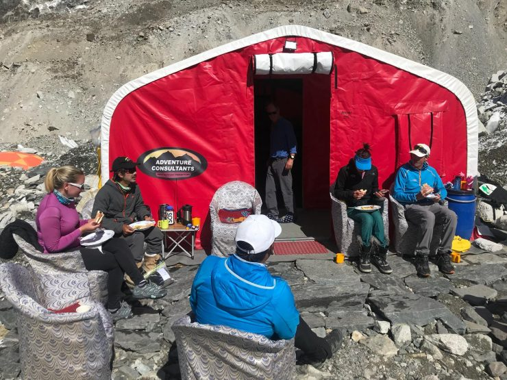 Pre-summit waiting game and rest days - breakfast at Everest Base Camp