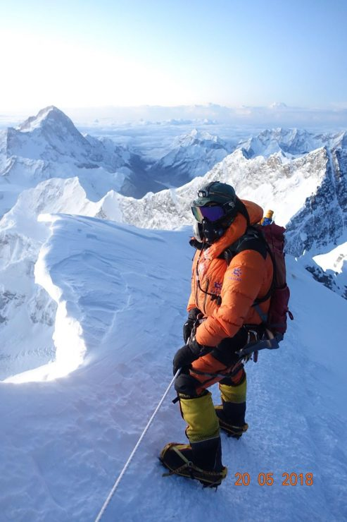 On the way down from the summit - Rinjee Sherpa, climbing Sirdar. Epic Everest expedition 2018