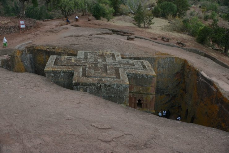 Ancient rock hewn churn in Lalibela Ethiopia