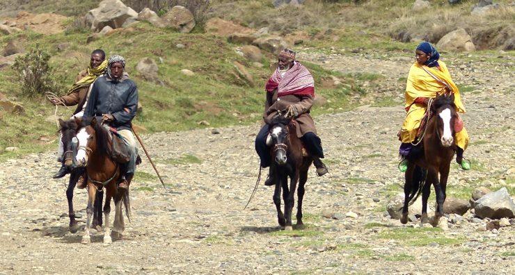 Ethiopian horsemen going to market - Bale Mountains National Park - Africa Travel Blog