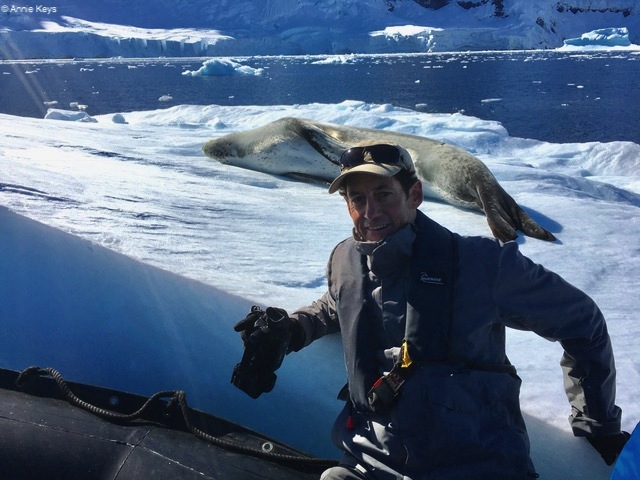 Brad and leopard seal in Antarctica