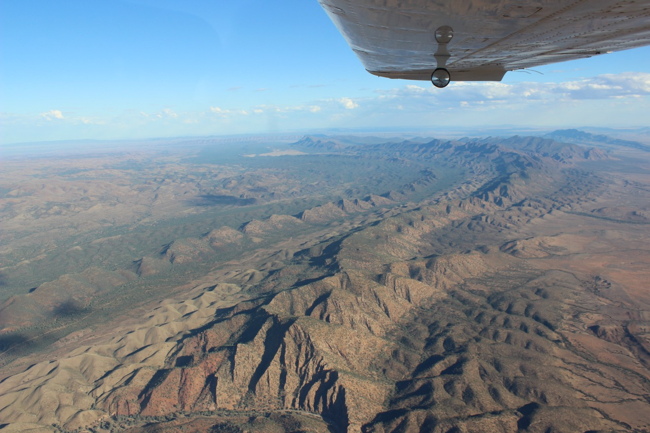 Aerial view over Flinders Ranges - Australian Outback South Australia