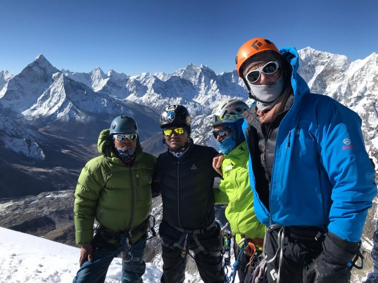 Brad and Epic Everest team - climbing Lobuche