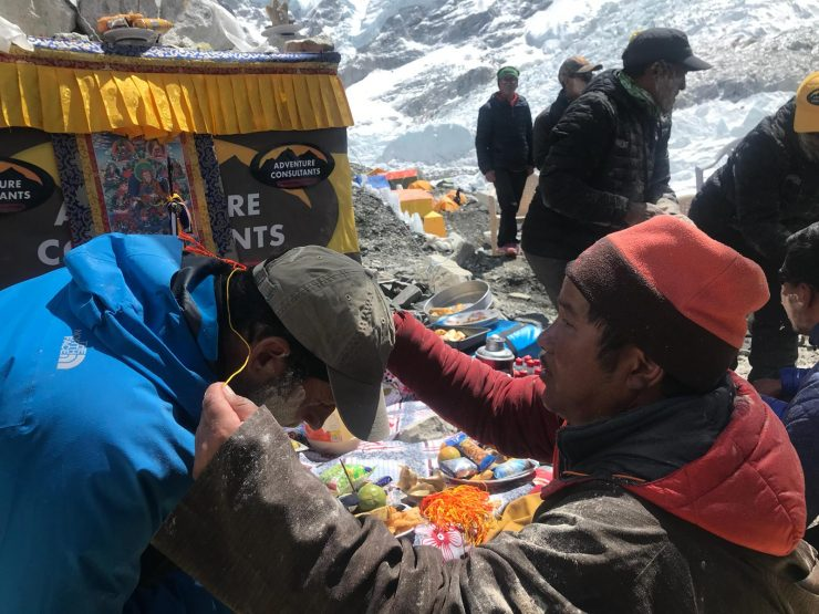 Brad's Puja ceremony blessing from the Lama - Epic Everest expedition 2018