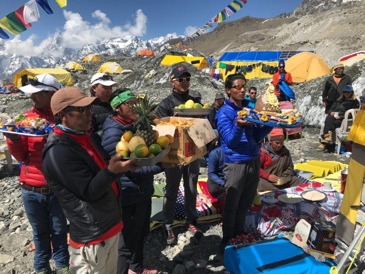 Puja ceremony offering to the gods - Epic Everest Expedition 2018