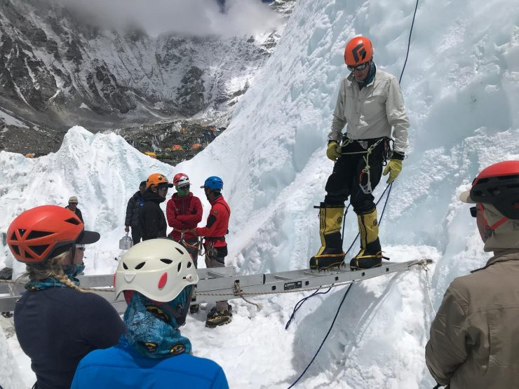 Using crampons - Everest Ice school