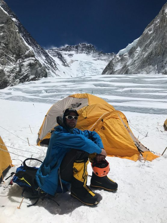 Brad at Camp 1 looking up the Western Cwrm - Everest acclimatisation rotation 1