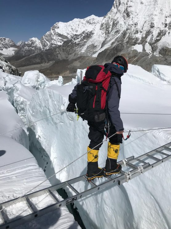 Ladder crossing in the icefall - Everest acclimatisation rotation 1