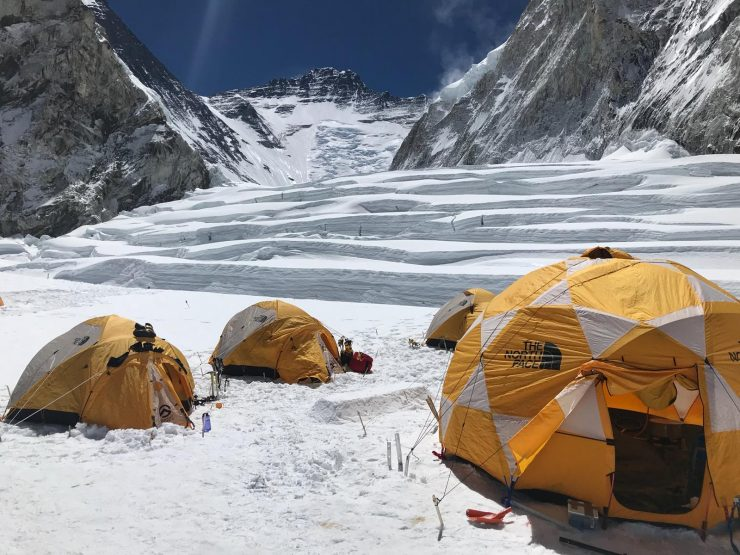 Camp 1 looking up Western Cwm - Everest acclimatisation rotation 1