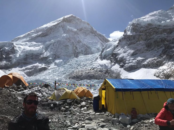 EBC rest days and rotation 2 prep - view from our base camp to the icefall