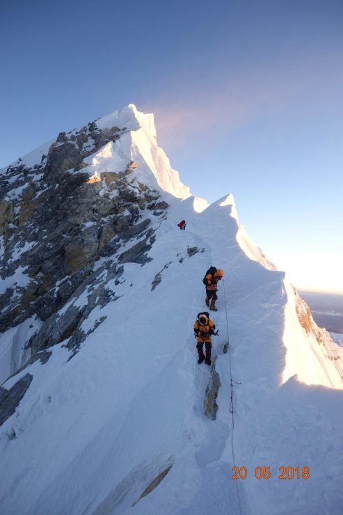 Coming down from the summit, just after the Hillary Step. Epic Everest 2018