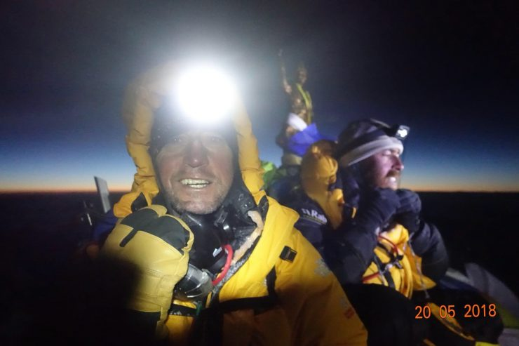 On the summit at dawn. Epic Everest expedition 2018