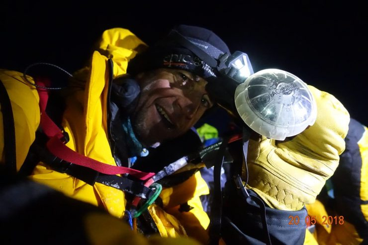 Brad on the summit - oxygen mask off. Epic Everest 2018