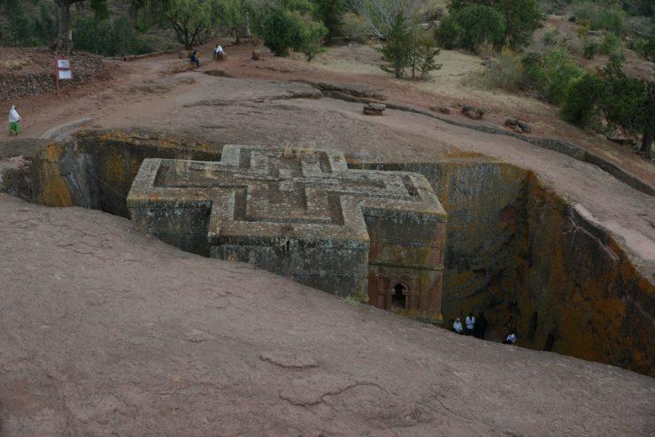 Ancient rock hewn churn in Lalibela Ethiopia