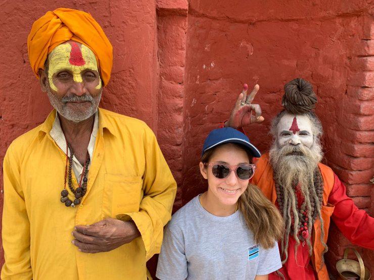 Ella with holy men Kathmandu EC Trek 2019